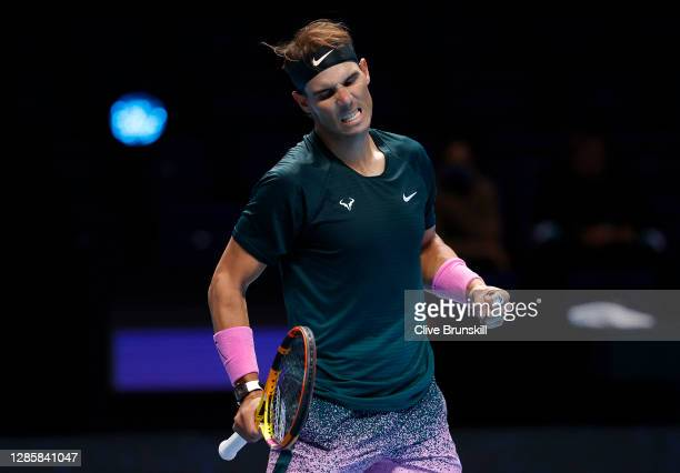 Rafael Nadal of Spain celebrates match point during his round robin match against Andrey Rublev of Russia during their first round robin match on Day...
