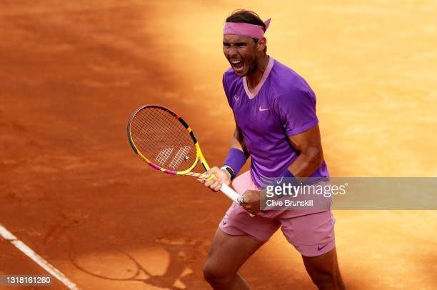 Rafael Nadal of Spain celebrates match point during his semi-final match with Reilly Opelka of USA on Day Eight of the Internazionali BNL D'Italia...