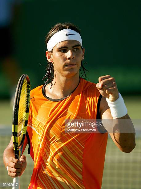 Rafael Nadal of Spain celebrates match point over Ivan Ljubicic of Croatia during the NASDAQ-100 Open at the Crandon Park Tennis Center on March 29,...