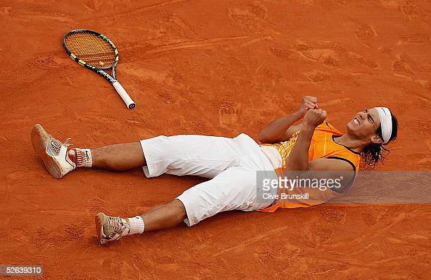Rafael Nadal of Spain celebrates match-point against Richard Gasquet of France in his semi-final match,during the ATP Masters Series at the Monte...