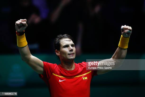 Rafael Nadal of Spain celebrates the victory after his match played against Borna Gojo of Croatia during the Day 3 of the 2019 Davis Cup at La Caja...