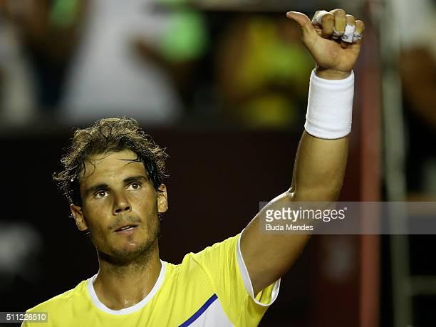 Rafael Nadal of Spain celebrates the victory against Nicolas Almagro of Spain during the Rio Open at Jockey Club Brasileiro on February 18 2016 in...