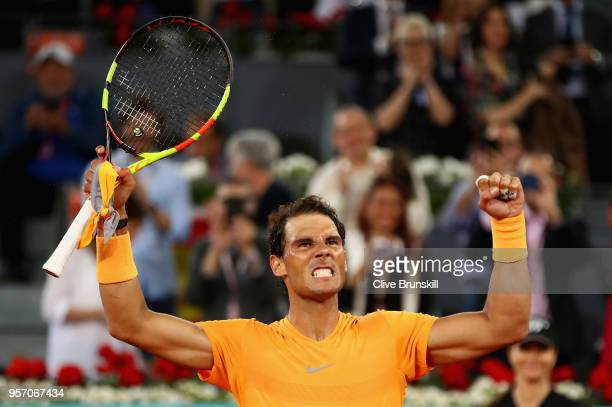 Rafael Nadal of Spain celebrates to the crowd after his straight set victory against Diego Schwartzman of Argentina in their third round match during...