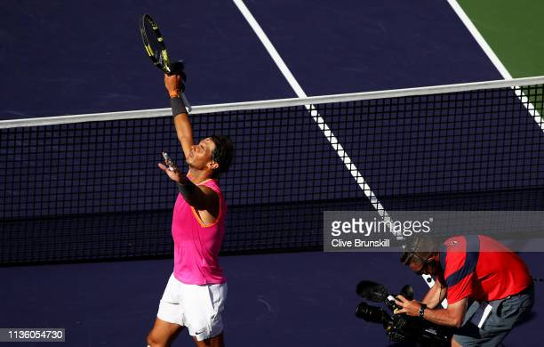Rafael Nadal of Spain celebrates to the crowd after his straight sets victory against Karen Khachanov of Russiaduring their men's singles quarter...