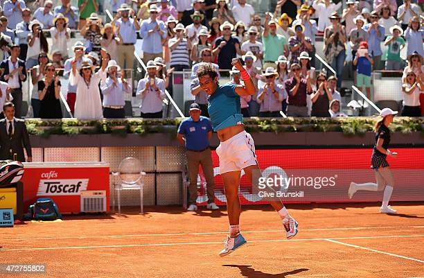 Rafael Nadal of Spain celebrates to the crowd after his straight sets victory against Tomas Berdych of the Czech Republic in their semi final match...