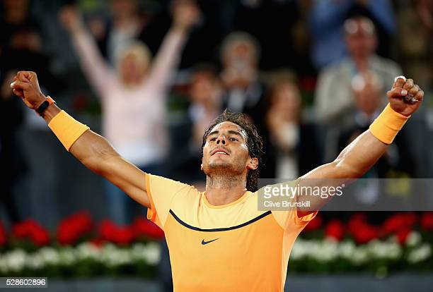Rafael Nadal of Spain celebrates to the crowd after his three set victory against Joao Sousa of Portugal in their quarter final round match during...