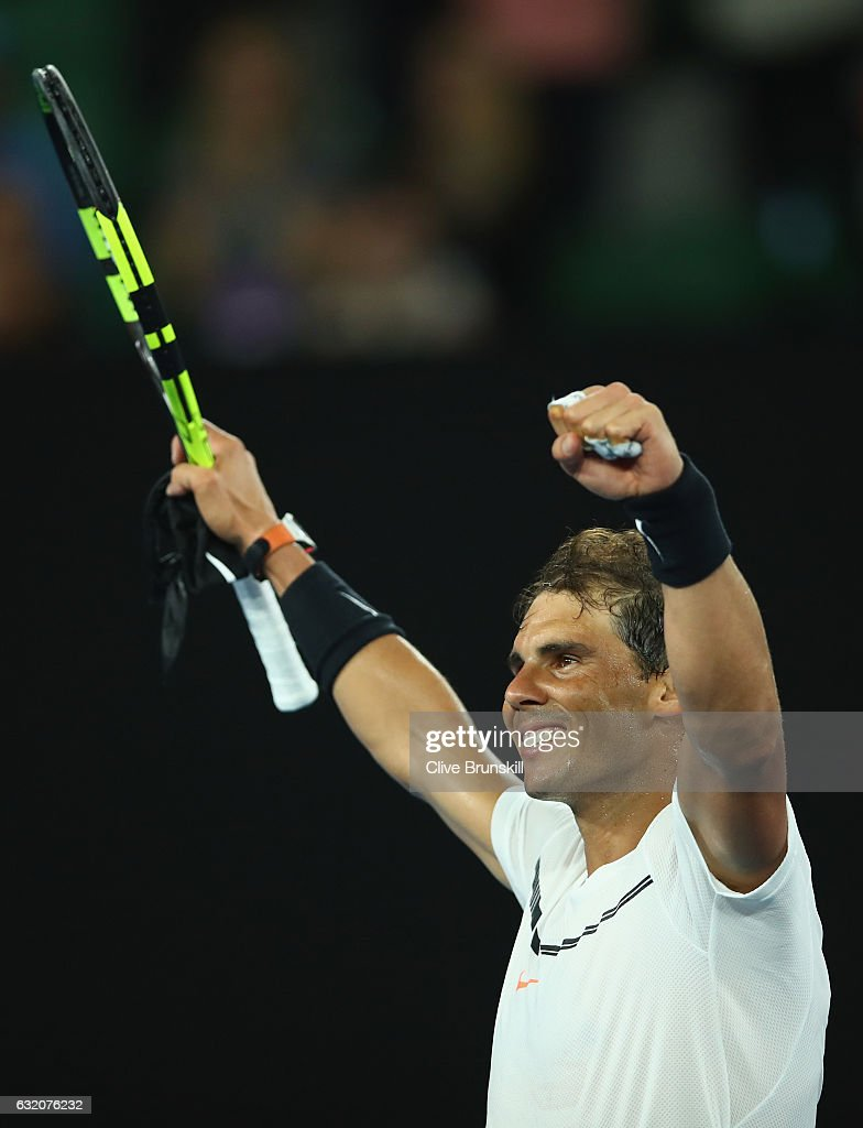 Rafael Nadal of Spain celebrates to the crowd after victory in his second round match against Marcos Baghdatis of Cyprus on day four of the 2017 Australian Open at Melbourne Park on January 19, 2017 in Melbourne, Australia.