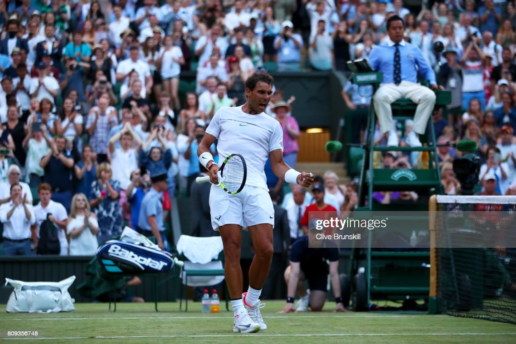 Rafael Nadal of Spain celebrates victory after his Gentlemen's Singles second round match against Donald Young of The United States on day three of the Wimbledon Lawn Tennis Championships at the All England Lawn Tennis and Croquet Club on July 5, 2017 in London, England.