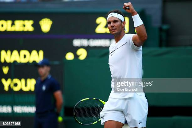 Rafael Nadal of Spain celebrates victory after his Gentlemen's Singles second round match against Donald Young of The United States on day three of...