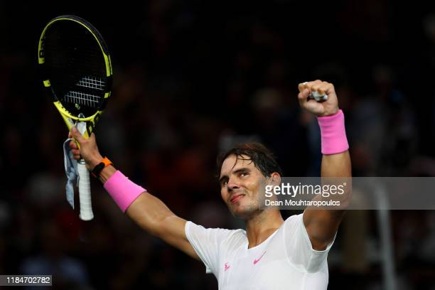 Rafael Nadal of Spain celebrates victory after his match against Stan Wawrinka of Switzerland on day 4 of the Rolex Paris Masters, part of the ATP...