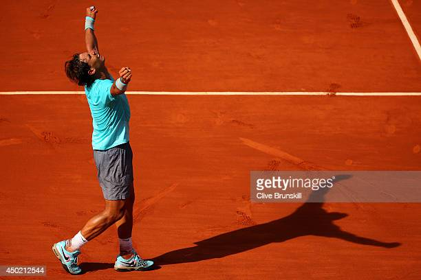 Rafael Nadal of Spain celebrates victory after his men's singles semifinal match against Andy Murray of Great Britain on day thirteen of the French...