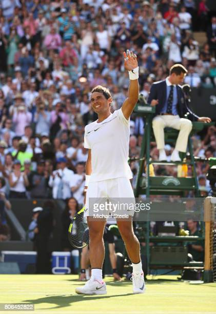 Rafael Nadal of Spain celebrates victory after the Gentlemen's Singles first round match against John Millman of Australia on day one of the...