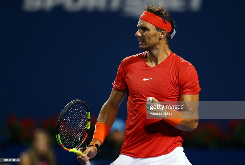 Rafael Nadal of Spain celebrates victory against Stan Wawrinka of Switzerland during a 3rd round match on Day 4 of the Rogers Cup at Aviva Centre on August 9, 2018 in Toronto, Canada.