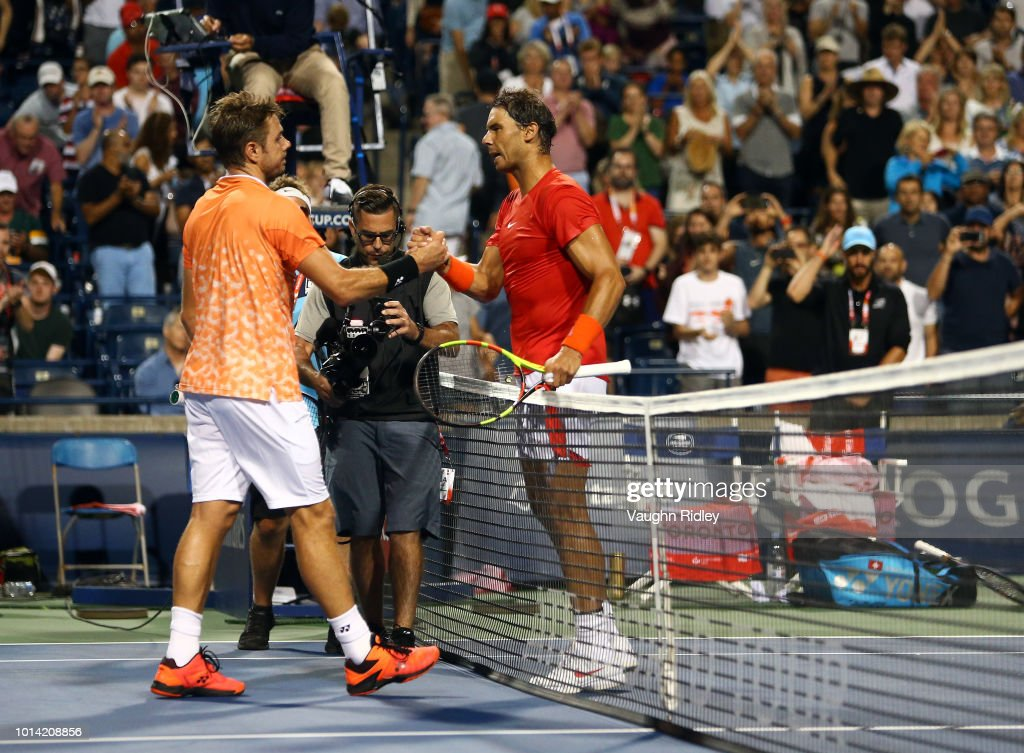Rafael Nadal (R) of Spain celebrates victory against Stan Wawrinka of Switzerland during a 3rd round match on Day 4 of the Rogers Cup at Aviva Centre on August 9, 2018 in Toronto, Canada.