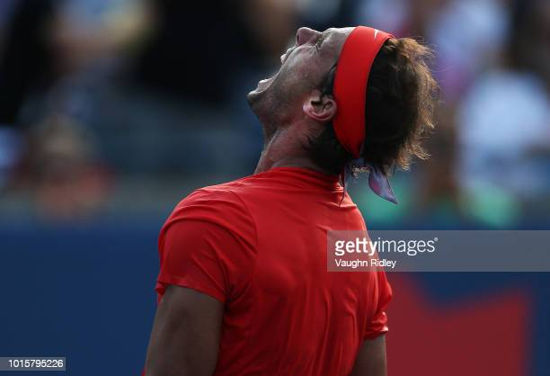 Rafael Nadal of Spain celebrates victory against Stefanos Tsitsipas of Greece during the final match on Day 7 of the Rogers Cup at Aviva Centre on...