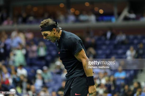 Rafael Nadal of Spain celebrates victory against Taro Daniel of Japan in their second round Men's Singles match on Day Four of the 2017 US Open at...