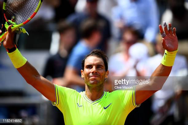 Rafael Nadal of Spain celebrates victory during his mens singles second round match against Yannick Maden of Germany during Day four of the 2019...