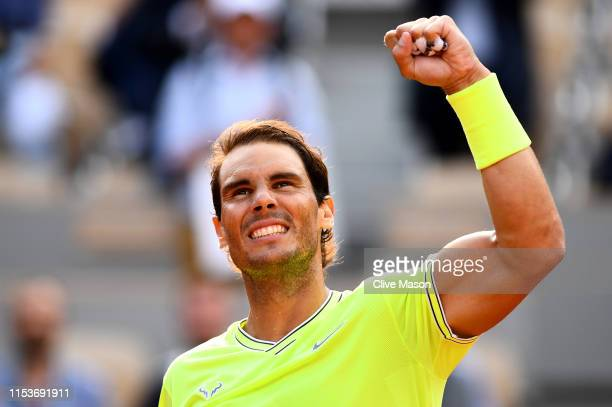 Rafael Nadal of Spain celebrates victory during his mens singles quarterfinal match against Kei Nishikori of Japan during Day ten of the 2019 French...