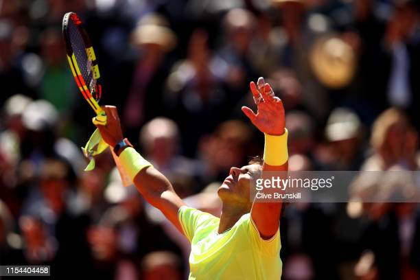 Rafael Nadal of Spain celebrates victory during his mens singles semifinal match against Roger Federer of Switzerland during Day thirteen of the 2019...