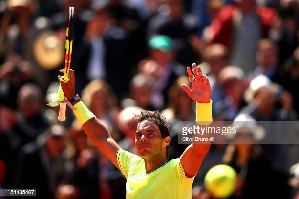 Rafael Nadal of Spain celebrates victory during his mens singles semi-final match against Roger Federer of Switzerland during Day thirteen of the...