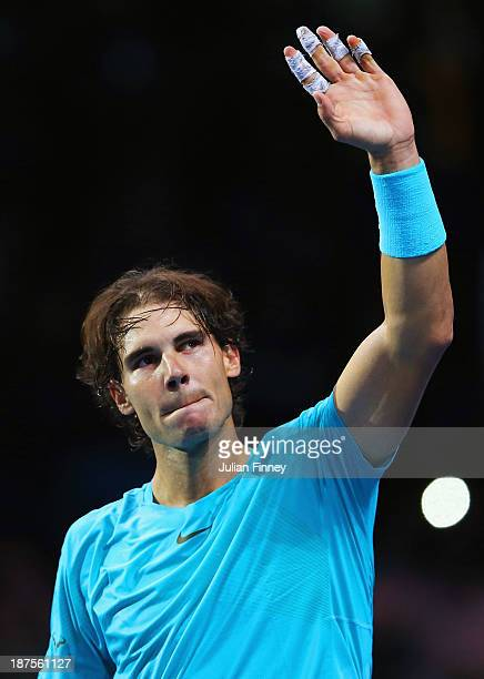 Rafael Nadal of Spain celebrates victory during his men's singles semifinal match against Roger Federer of Switzerland during day seven of the...