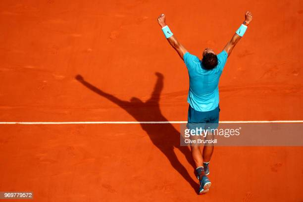 Rafael Nadal of Spain celebrates victory during his mens singles semifinal match against Juan Martin Del Potro of Argentina during day thirteen of...