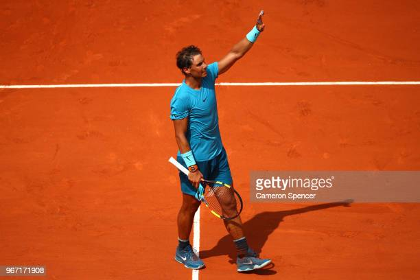 Rafael Nadal of Spain celebrates victory during the mens singles fourth round match against Maximilian Marterer of Germany during day nine of the...