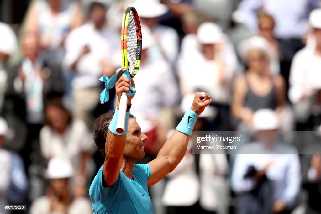 Rafael Nadal of Spain celebrates victory during the mens singles fourth round match against Maximilian Marterer of Germany during day nine of the 2018 French Open at Roland Garros on June 4, 2018 in Paris, France.