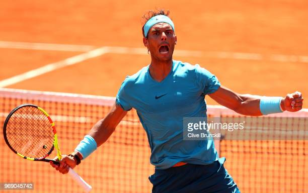Rafael Nadal of Spain celebrates victory during the mens singles quarter finals match againts Diego Schwartzman of Argentina during day twelve of the...