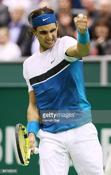 Rafael Nadal of Spain celebrates victory in his match against Simone Bolelli of Italy during day three of the ABN AMRO World Tennis Tournament at the...