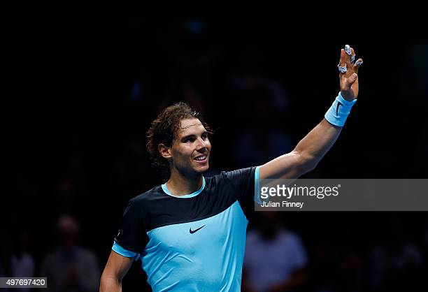 Rafael Nadal of Spain celebrates victory in his men's singles match against Andy Murray of Great Britain during day four of the Barclays ATP World...