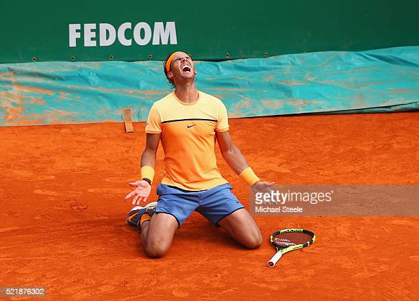 Rafael Nadal of Spain celebrates victory in the singles final match against Gael Monfils of France during day eight of the Monte Carlo Rolex Masters...