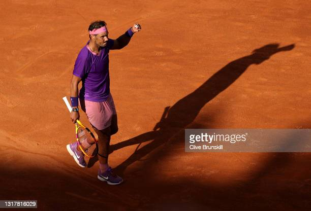 Rafael Nadal of Spain celebrates victory in their mens singles third round match against Denis Shapovalov of Canada during Day Six of the...
