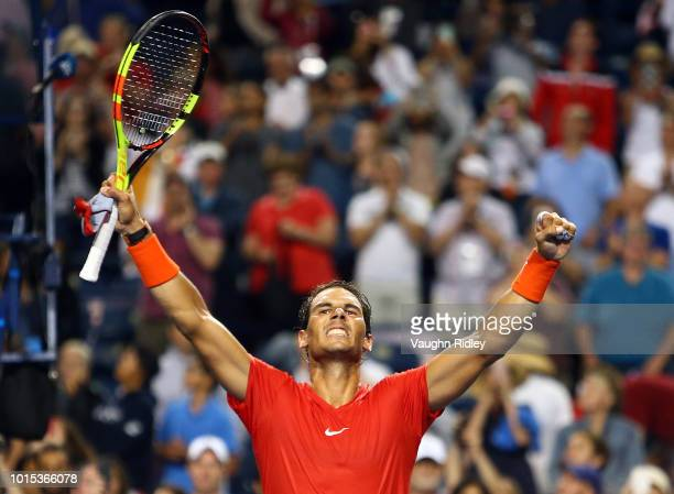 Rafael Nadal of Spain celebrates victory over Karen Khachanov of Russia following a semi final match on Day 6 of the Rogers Cup at Aviva Centre on...