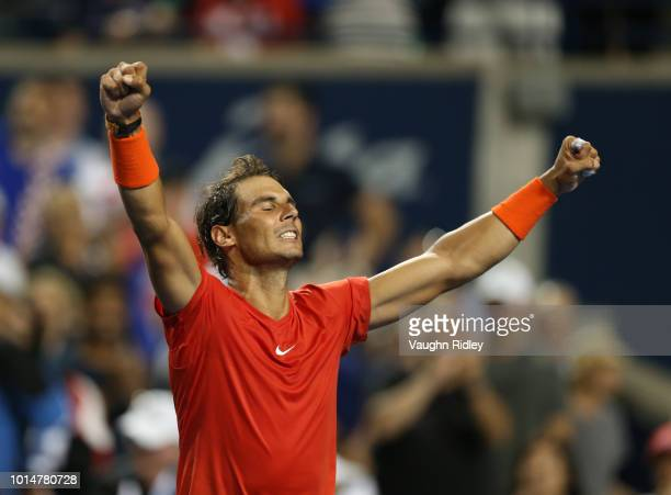 Rafael Nadal of Spain celebrates victory over Marin Cilic of Croatia during a quarter final match on Day 5 of the Rogers Cup at Aviva Centre on...