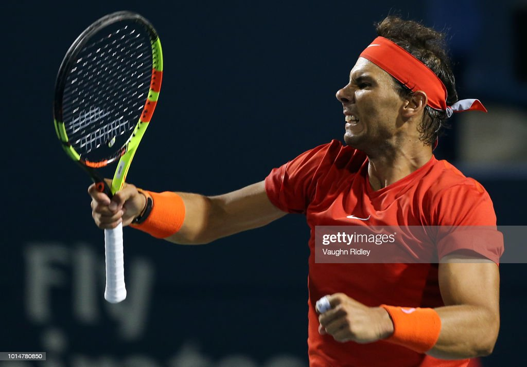 Rafael Nadal of Spain celebrates victory over Marin Cilic of Croatia during a quarter final match on Day 5 of the Rogers Cup at Aviva Centre on August 10, 2018 in Toronto, Canada.