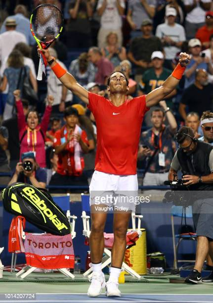 Rafael Nadal of Spain celebrates victory over Stan Wawrinka of Switzerland during a 3rd round match on Day 4 of the Rogers Cup at Aviva Centre on...