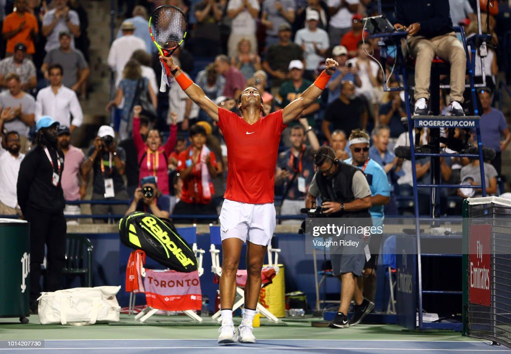 Rafael Nadal of Spain celebrates victory over Stan Wawrinka of Switzerland during a 3rd round match on Day 4 of the Rogers Cup at Aviva Centre on August 9, 2018 in Toronto, Canada.