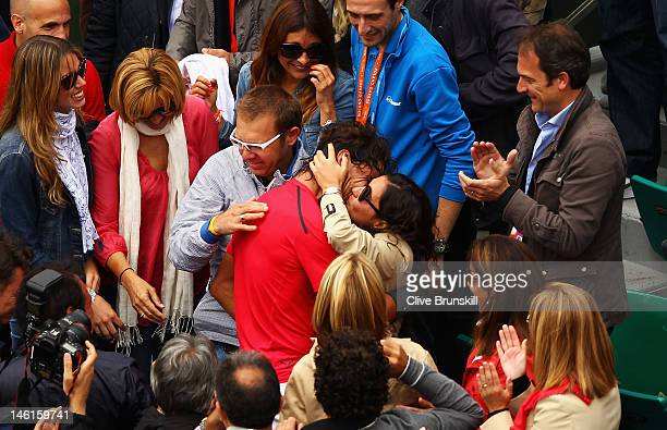 Rafael Nadal of Spain celebrates victory with girlfriend Xisca Perello after the men's singles final against Novak Djokovic of Serbia during day 16...