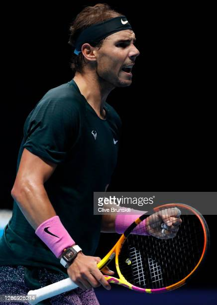 Rafael Nadal of Spain celebrates winning a point during his singles semi final match against Daniil Medvedev of Russia during day seven of the Nitto...