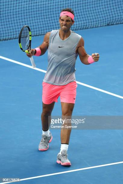 Rafael Nadal of Spain celebrates winning a point in his fourth round match against Diego Schwartzman of Argentina on day seven of the 2018 Australian...