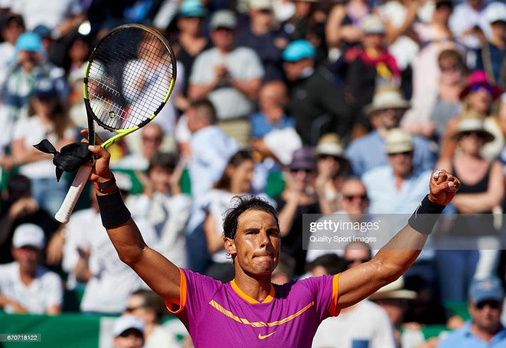 Rafael Nadal of Spain celebrates winning against Alexander Zverev of Germany during day five of the ATP Monte Carlo Rolex Masters Tennis at Monte-Carlo Sporting Club on April 20, 2017 in Monte-Carlo, Monaco.