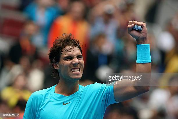 Rafael Nadal of Spain celebrates winning against Fabio Fognini of Italy during his men's quarter-final match on day seven of the 2013 China Open at...