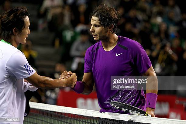Rafael Nadal of Spain celebrates winning against Go Soeda of Japan during the day two of the Rakuten Open at Ariake Colosseum on October 4, 2011 in...