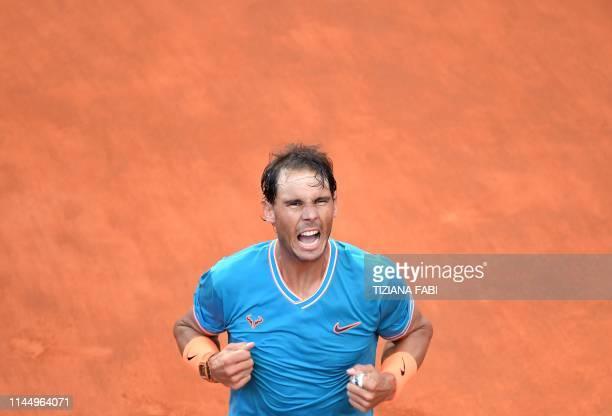 Rafael Nadal of Spain celebrates winning against Novak Djokovic of Serbia during their ATP Masters tournament final tennis match at the Foro Italico...