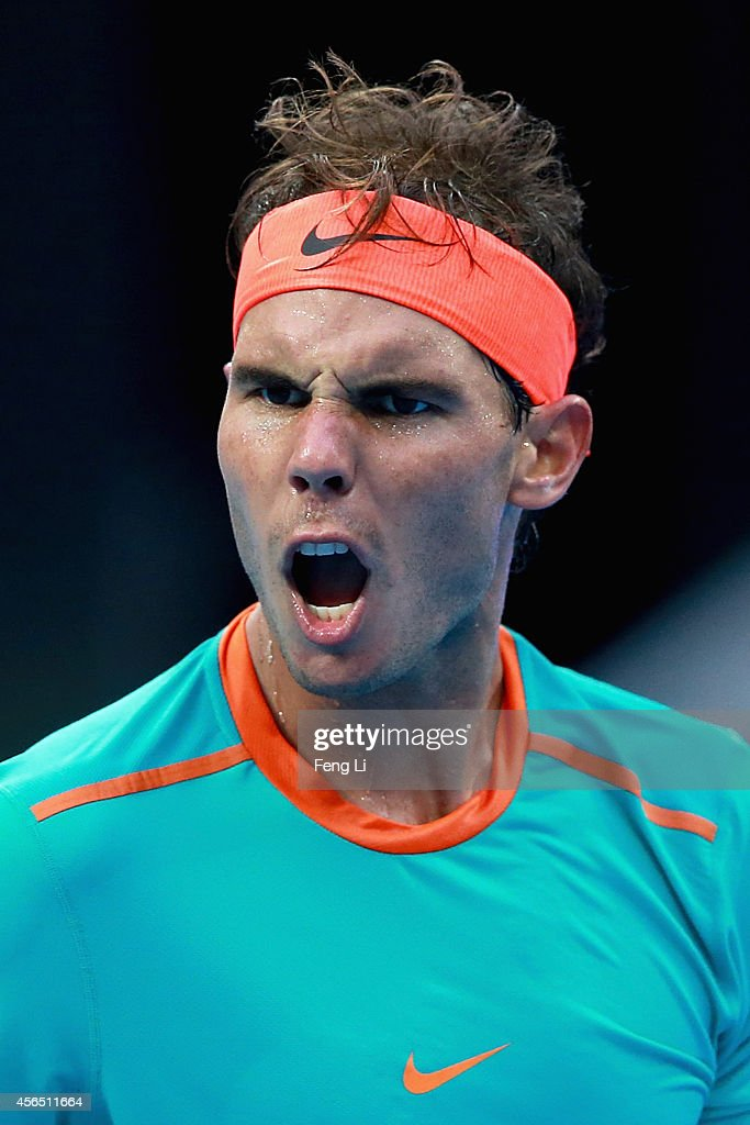 Rafael Nadal of Spain celebrates winning against Peter Gojowczyk of Germany during day six of the China Open at the China National Tennis Center on October 2, 2014 in Beijing, China.