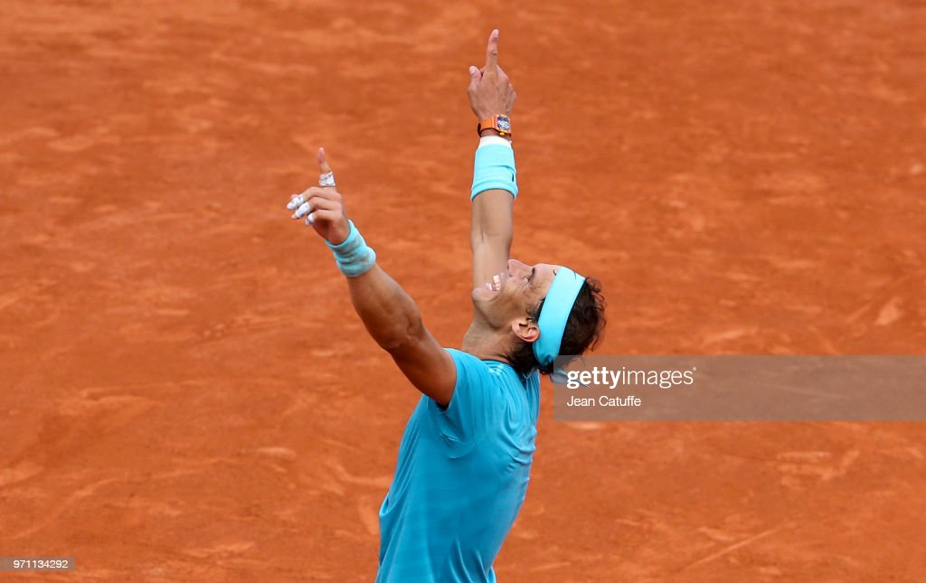 Rafael Nadal of Spain celebrates winning his 11th French Open on Day 15 of the 2018 French Open at Roland Garros stadium on June 10, 2018 in Paris, France.