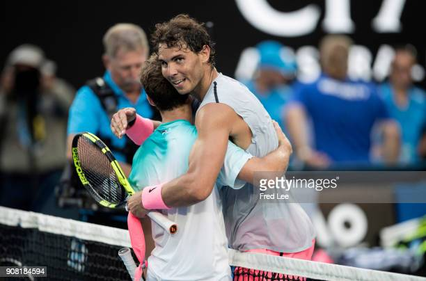 Rafael Nadal of Spain celebrates winning his fourth round match against Diego Schwartzman of Argentina on day seven of the 2018 Australian Open at...
