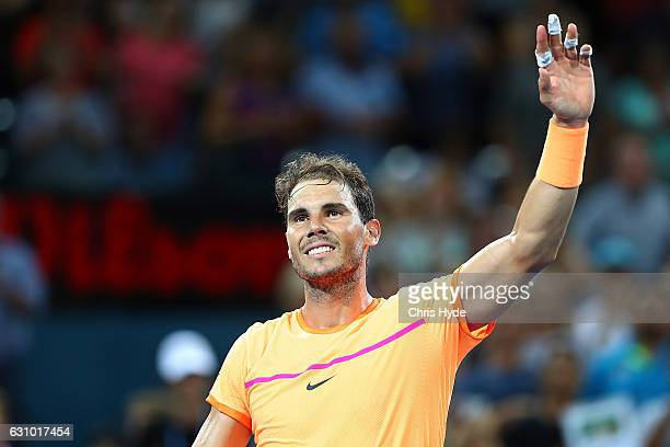 Rafael Nadal of Spain celebrates winning his quarter final match against Mischa Zverev of Germany during day five of the 2017 Brisbane International...