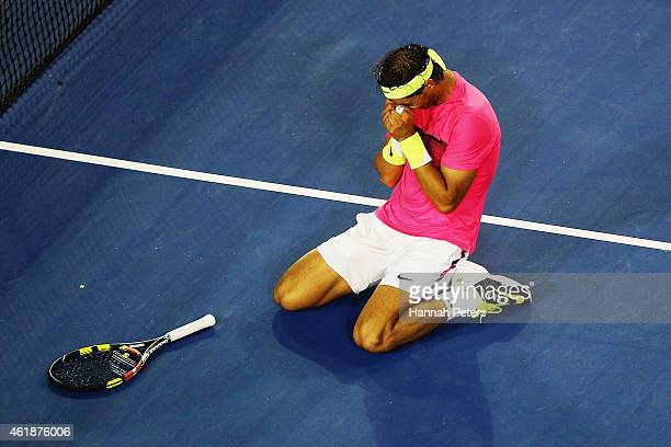 Rafael Nadal of Spain celebrates winning his second round match against Tim Smyczek of USA during day three of the 2015 Australian Open at Melbourne...